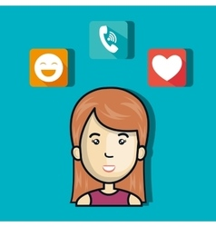 woman avatar with media icon set vector image