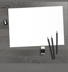 Workplace art board paper pencils eraser and vector