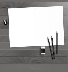 Workplace art board paper pencils eraser vector
