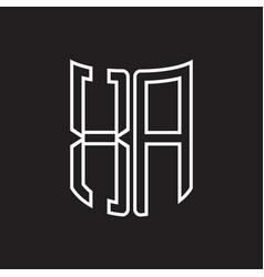 Xa logo monogram with ribbon style outline design vector