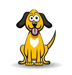 Yellow dog cartoon vector image