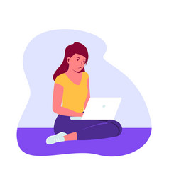 young girl sitting on floor with her laptop vector image