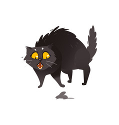 cute fluffy fat black cat scared of little mouse vector image