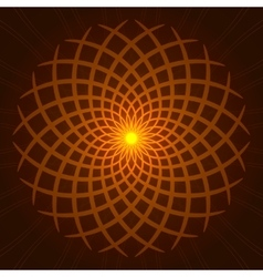 geometric orange glow mandala vector image