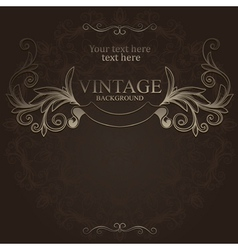 hand drawn vintage emblem with ribbon vector image vector image