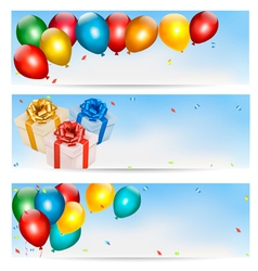 Holiday banners with colorful balloons and gift vector image