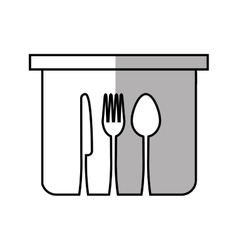 pot fork spoon knife kitchen symbol linear vector image