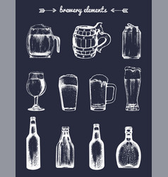 Set of vintage brewery elements collection vector