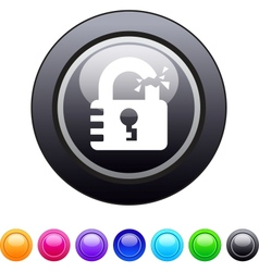 Unlock circle button vector image