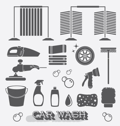 Car Wash Icons and Silhouettes vector image vector image