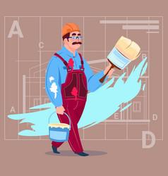 cartoon painter hold paint brush decorator builder vector image vector image