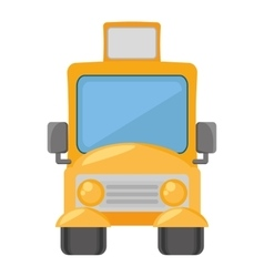 Cartoon yellow school bus transport pupils vector