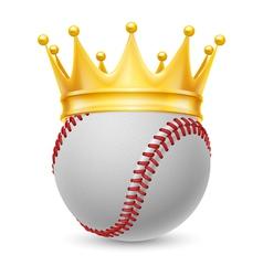 Gold crown on baseball vector image vector image
