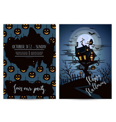 halloween party invitation set with spooky castle vector image vector image
