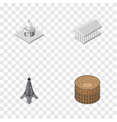 isometric architecture set of athens paris vector image vector image