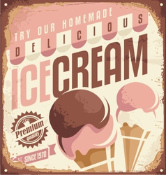 Retro ice cream tin sign design concept vector image