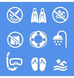 Swimming scuba diving sport icons set vector image vector image