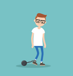 young exhausted nerd wearing shackles sad tired vector image