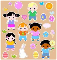 children spring set vector image vector image