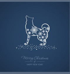 christmas and new year card with a dog vector image
