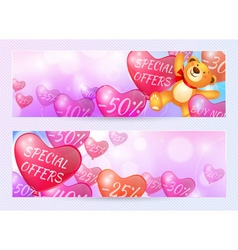 Discounts on flying in the form of hearts balls vector image vector image