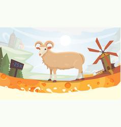farm milk sheep cartoon vector image vector image