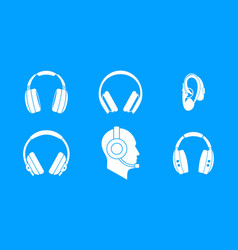 headphones icon blue set vector image vector image
