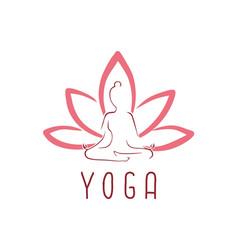 lotus yoga logo icon design vector image vector image