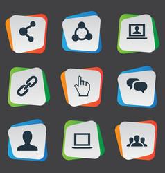 set of simple social media vector image