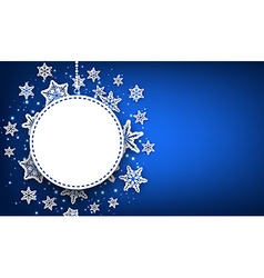 Winter round background with snowflakes vector image