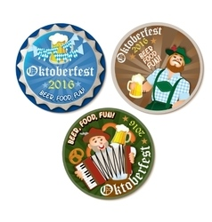 Beautiful Oktoberfest label with beer and pretzel vector image vector image