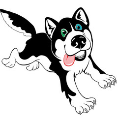 cartoon dog husky vector image vector image