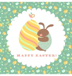 Easter bunny and easter egg vector image vector image
