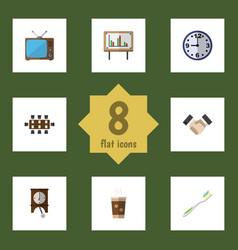 Flat icon life set of television clock boardroom vector