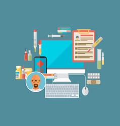 online health medication medical care service vector image