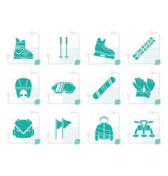 stylized ski and snowboard equipment icons vector image vector image