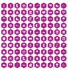 100 country house icons hexagon violet vector