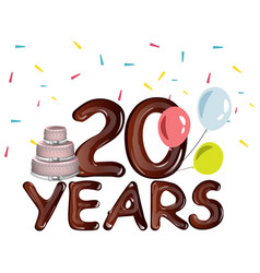 20th years anniversary card with cake vector image