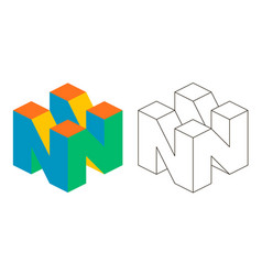 3d letter n isometry letter n advertising vector