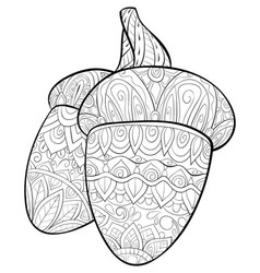 Adult coloring bookpage a cute christmas acorns vector