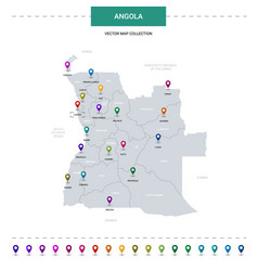 Angola map with location pointer marks vector