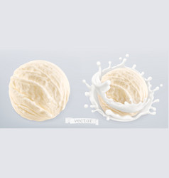 Ball ice cream and splash milk 3d realistic vector