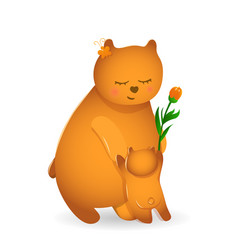 Bear mom with her cub vector