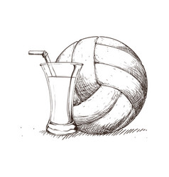 beverage volleyball skecth vector image