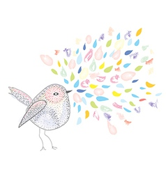 Bird and watercolor splash card vector