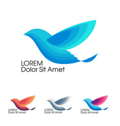 Bird in flight trendy minimalistic template vector