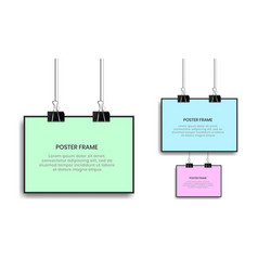 blank posters hanging with binder clips vector image