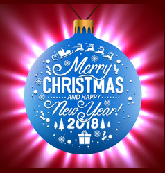 blue christmas ball on a shining background vector image