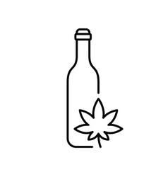 bottle with cannabis leaf line art oil or drink vector image