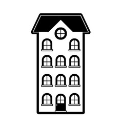 Building apartment of four floors black silhouette vector